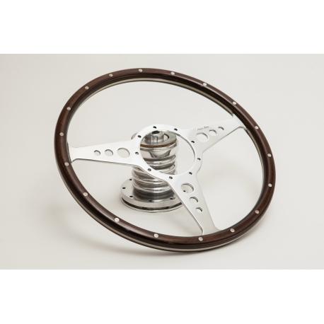 Moto-lita volant tříramenný v ořechovém dřevě